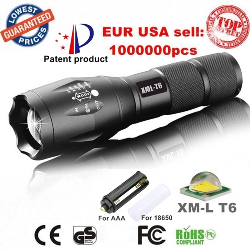 Powerful G700 Flashlight Cree XML T6 U3 led Aluminum Waterproof Zoom Camping Torch Tactical light AAA 18650 Rechargeable Battery
